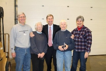 From left to right: Steven Painchaud, Chair of the Board of Trustees (CRFP), Katherine (Kay) Reardon, Governor John Lynch, Honora (Honey) Reardon and Maria Manus Painchaud, Chair of the Holiday Food Basket Project (CRFP).