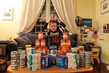 Aidan L. asked friends for tuna and peanut butter for his birthday (instead of presents) so he could donate them to the Year Round Distribution Program and help kids who are hungry.