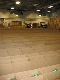 Boxes to be filled at the Holiday Food Basket Project